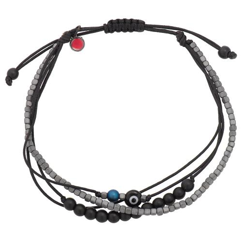 Black macrame bracelet, hemitite, evil eye.