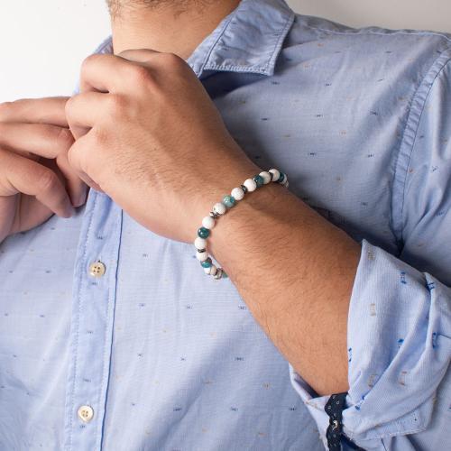 Men΄s bracelet, white and turquoise semi precious stones.