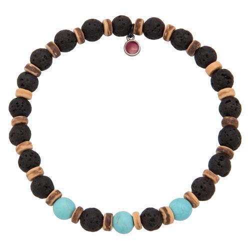 Men΄s bracelet, black semi precious stones and wooden disks.