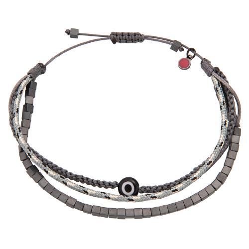 Grey macrame bracelet, hemitite and evil eye.