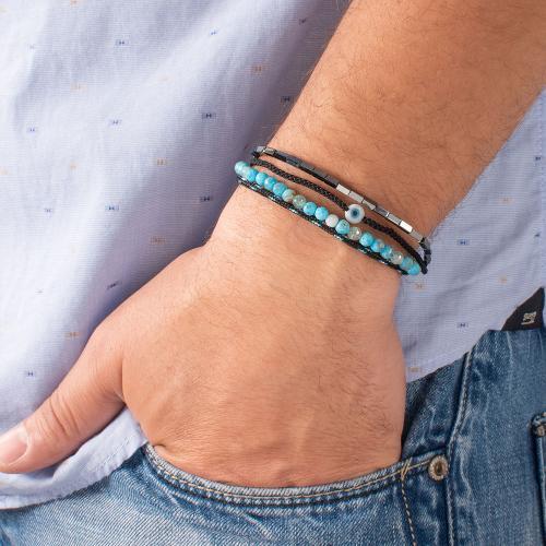 Black macrame bracelet, hemitite, turquoise semi precious stones and evil eye.