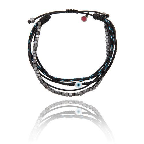 Black macrame bracelet, hemitite and evil eye.