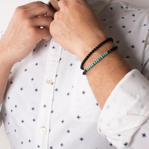 Black macrame bracelet, black and turquoise semi precious stones.