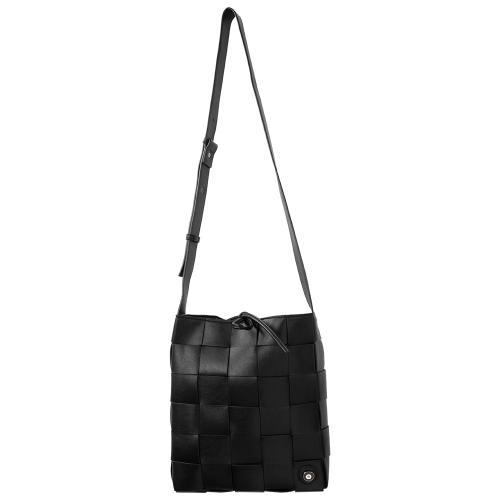 Τσάντα χιαστί πλεκτή, μαύρο οικολογικό δέρμα, αποσπώμενη θήκη και μάτι από σμάλτο. Διαστάσεις 25χ23εκ.