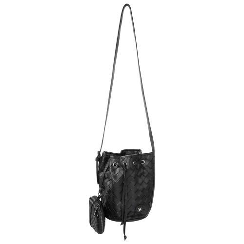 Τσάντα πουγκί πλεκτή, μαύρο οικολογικό δέρμα με αποσπώμενο λουρί και πορτοφόλι, μάτι από σμάλτο. Διαστάσεις 22x12εκ.