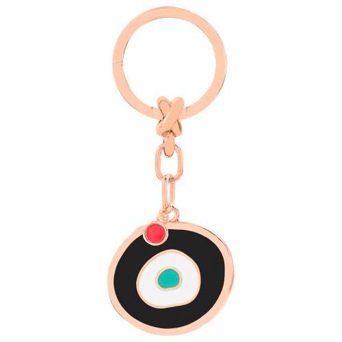 Rose gold plated alloy key ring, black enamel evil eye.