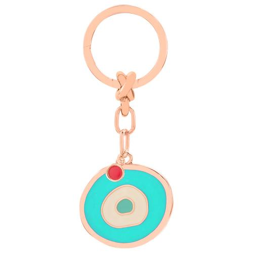 Rose gold plated alloy key ring, turqoise enamel evil eye