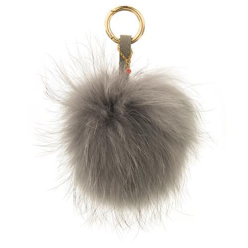 Key ring, grey furry.