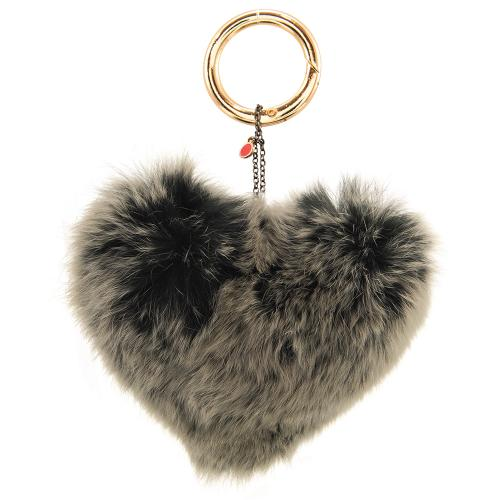 Key ring, heart shaped grey furry.