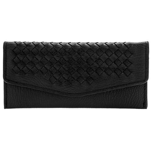 Μαύρο πορτοφόλι οικολογικό δέρμα, με σχέδιο πλέξης.