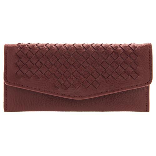 Μπορντώ πορτοφόλι οικολογικό δέρμα, με σχέδιο πλέξης. Διαστάσεις 19x09εκ.