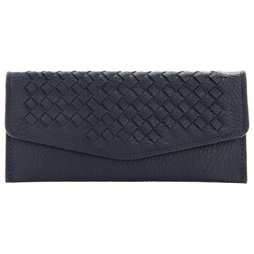 Μπλε σκούρο πορτοφόλι οικολογικό δέρμα, με σχέδιο πλέξης. Διαστάσεις 19x09εκ.