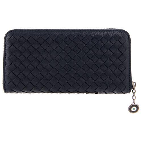 Μπλε σκούρο πορτοφόλι οικολογικό δέρμα, με σχέδιο πλέξης , μάτι από σμάλτο. Διαστάσεις 21x11εκ.