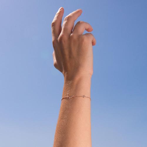 Βραχιόλι ζώδιο αστερισμός του Υδροχόου (Υδροχόος), ροζ επιχρυσωμένο ασήμι 925, λευκά ζιργκόν και μονόπετρο.