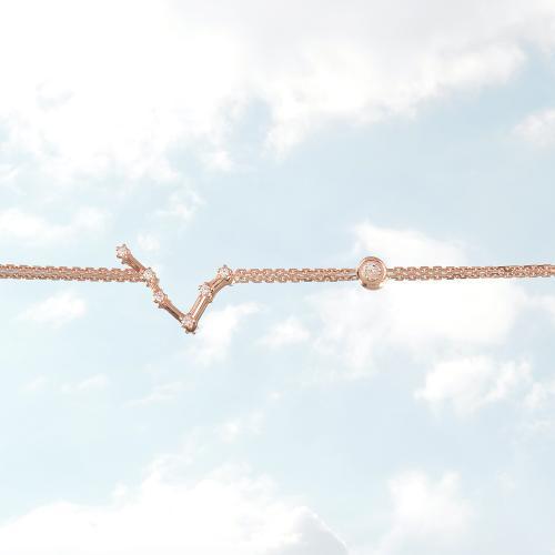 Βραχιόλι ζώδιο αστερισμός του Ιχθύος (Ιχθύς), ροζ επιχρυσωμένο ασήμι 925, λευκά ζιργκόν και μονόπετρο.