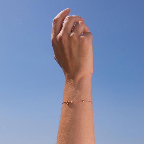 Βραχιόλι ζώδιο αστερισμός του Αιγόκερου (Αιγόκερως), ροζ επιχρυσωμένο ασήμι 925, λευκά ζιργκόν και μονόπετρο.