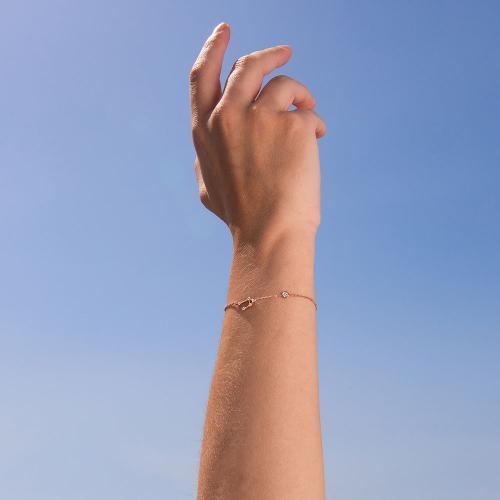 Βραχιόλι ζώδιο αστερισμός του Ζυγού (Ζυγός), ροζ επιχρυσωμένο ασήμι 925, λευκά ζιργκόν και μονόπετρο.