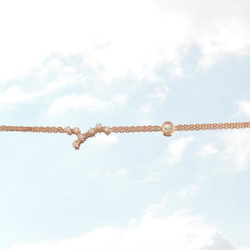 Βραχιόλι ζώδιο αστερισμός του Παρθένου (Παρθένος), ροζ επιχρυσωμένο ασήμι 925, λευκά ζιργκόν και μονόπετρο.