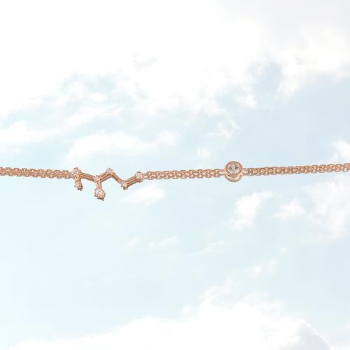 Βραχιόλι ζώδιο αστερισμός του Λέοντα (Λέων), ροζ επιχρυσωμένο ασήμι 925, λευκά ζιργκόν και μονόπετρο.
