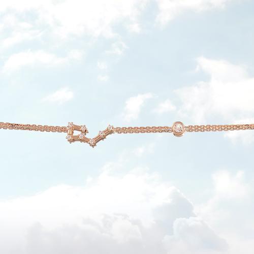 Βραχιόλι ζώδιο αστερισμός του Ταύρου (Ταύρος), ροζ επιχρυσωμένο ασήμι 925, λευκά ζιργκόν και μονόπετρο.