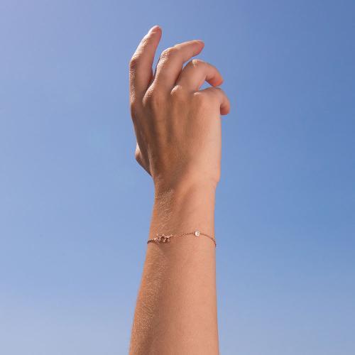Βραχιόλι ζώδιο αστερισμός του Τοξότη (Τοξότης), ροζ επιχρυσωμένο ασήμι 925, λευκά ζιργκόν και μονόπετρο.