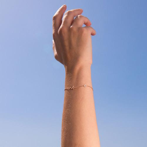 Βραχιόλι ζώδιο αστερισμός του Σκορπιού (Σκορπιός), ροζ επιχρυσωμένο ασήμι 925, λευκά ζιργκόν και μονόπετρο.