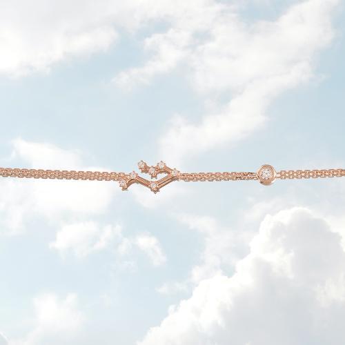 Βραχιόλι ζώδιο αστερισμός των Διδύμων (Δίδυμος), ροζ επιχρυσωμένο ασήμι 925, λευκά ζιργκόν και μονόπετρο.