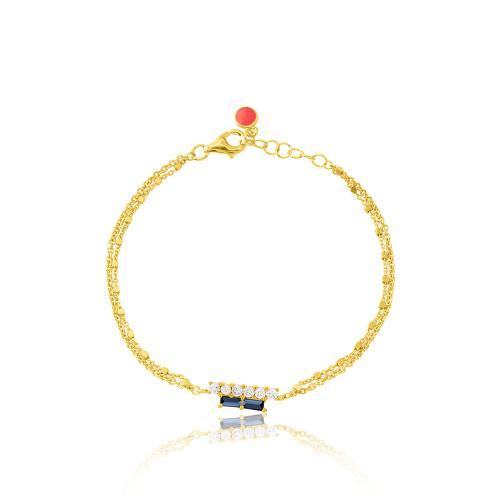 Βραχιόλι κίτρινο επιχρυσωμένο ασήμι 925, μπλε και λευκά ζιργκόν.