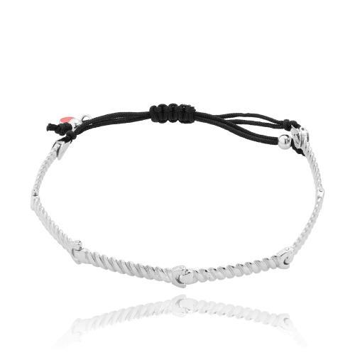 Black macrame men΄s bracelet, sterling silver chain.