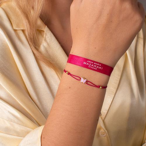 "Yellow gold plated sterling silver, children""s fuchsia macrame bracelet, pink enamel butterfly."