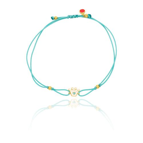 """Yellow gold plated sterling silver, children""""s turquoise macrame bracelet, white enamel crown."""