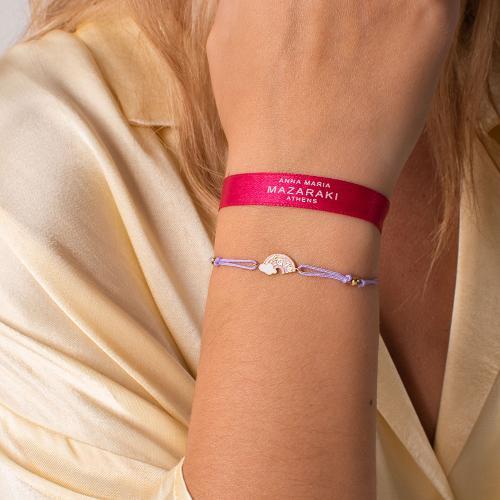 "Yellow gold plated sterling silver, children""s purple macrame bracelet, pink enamel rainbow."