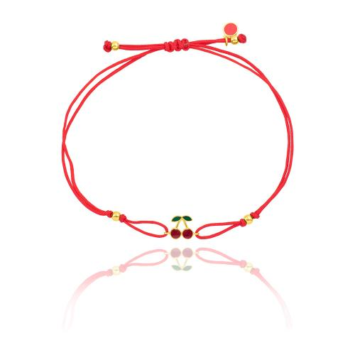 """Yellow gold plated sterling silver, children""""s red macrame bracelet, red enamel cherry."""
