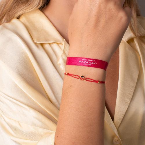 "Yellow gold plated sterling silver, children""s red macrame bracelet, red enamel ladybug."