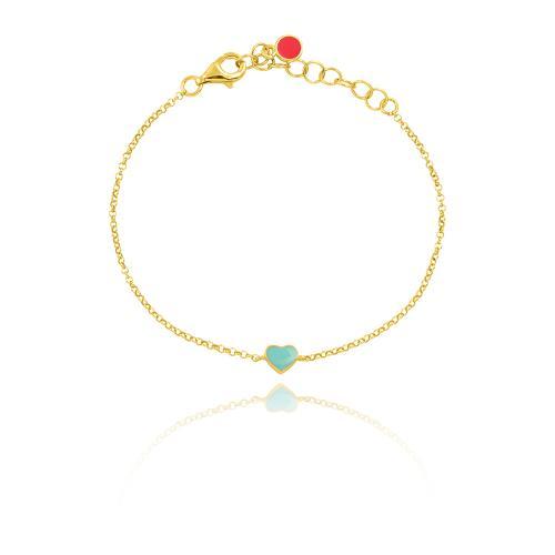 Yellow gold plated sterling silver children΄s bracelet, turquoise enamel heart.