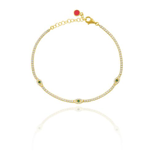 Yellow gold plated sterling silver bracelet, white and green cubic zirconia evil eyes.