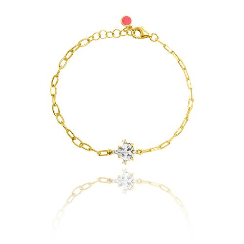 Yellow gold plated sterling silver bracelet, heart white solitaire and white cubic zirconia.