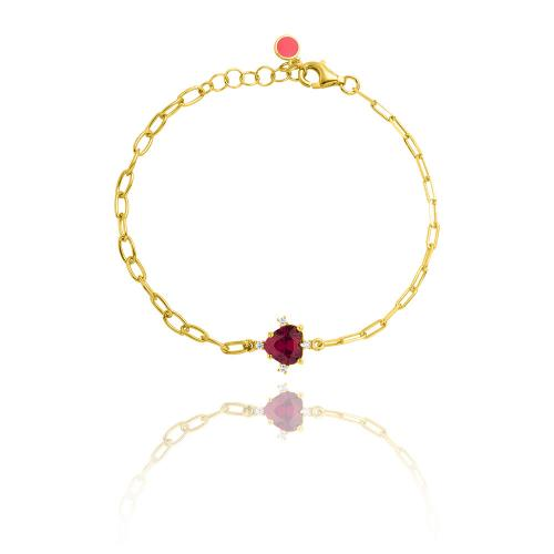 Yellow gold plated sterling silver bracelet, heart red solitaire and white cubic zirconia.