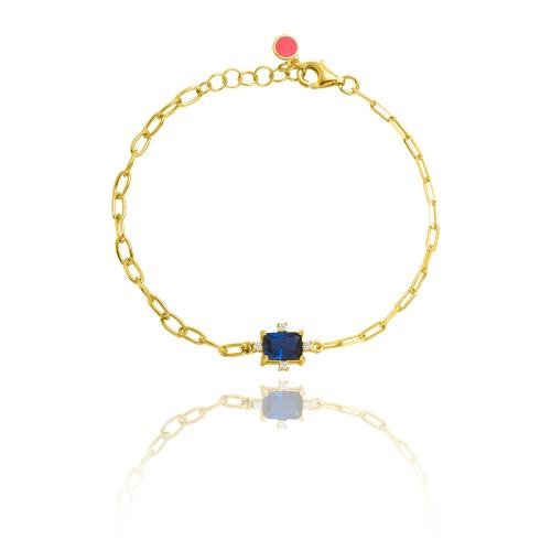Yellow gold plated sterling silver bracelet, rectangle blue solitaire and white cubic zirconia.