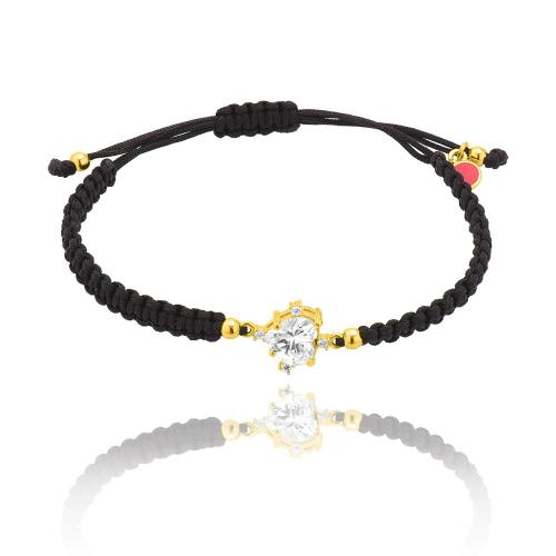 Black macrame bracelet, yellow gold plated sterling silver, heart white solitaire and white cubic zirconia.