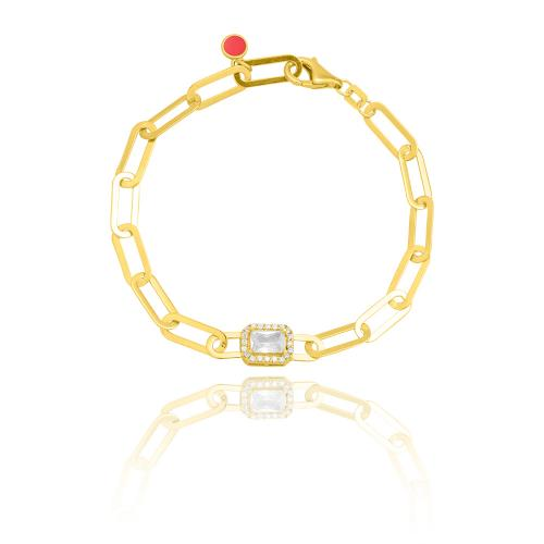 Yellow gold plated sterling silver bracelet, rectangle chain and white cubic zirconia solitaire.