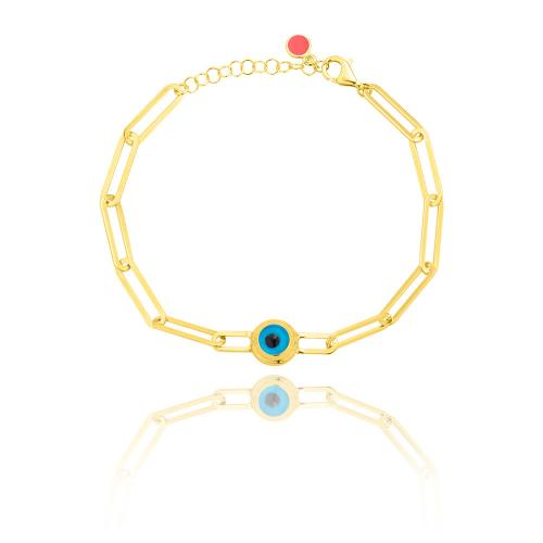 Yellow gold plated sterling silver bracelet, rectangle chain and evil eye.