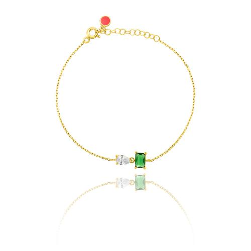 Yellow gold plated sterling silver necklace, green and white solitaire.