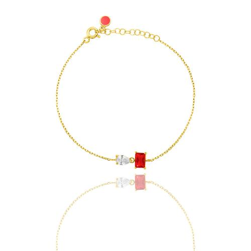 Yellow gold plated sterling silver necklace, red and white solitaire.