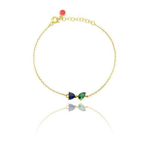 Yellow gold plated sterling silver necklace, green and blue heart solitaire.