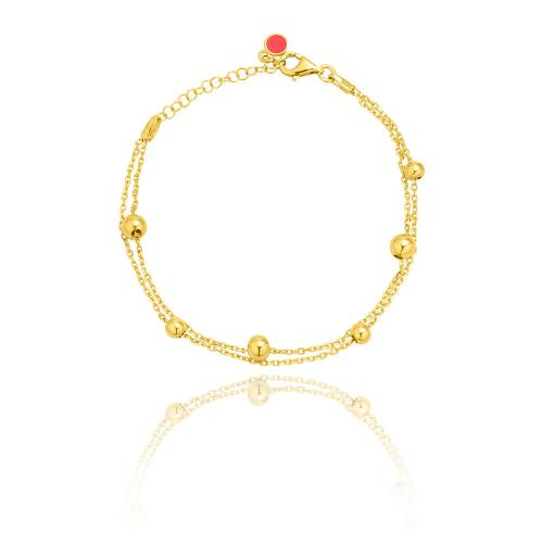 Yellow gold plated sterling silver bracelet, balls.
