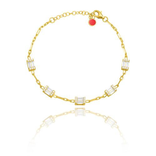 Yellow gold plated sterling silver bracelet, white cubic zirconia solitaires.