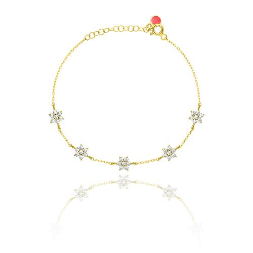 Yellow gold plated sterling silver bracelet, white cubic zirconia flowers.