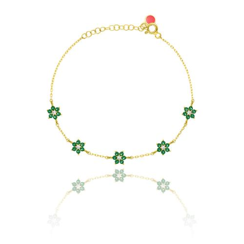 Yellow gold plated sterling silver bracelet, white and green cubic zirconia flowers.