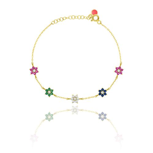 Yellow gold plated sterling silver bracelet, multi color cubic zirconia flowers.